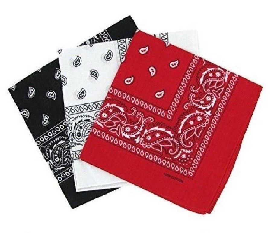 Bandana Paisley 3er Pack  Rot Weiß und Schwarz Kopftuch Handtuch Bikertuch