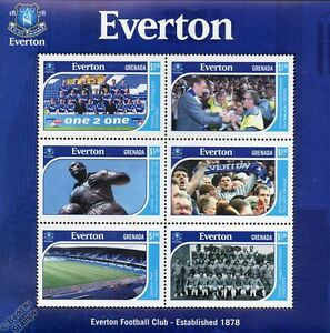 EVERTON-Football-Club-Stamps-2001-Grenada-MiniSheet-SG4573-8-3233-Soccer