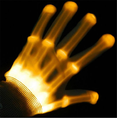 LED Yellow / Gold Flashing Gloves Electro Light Up Dance Rave Party