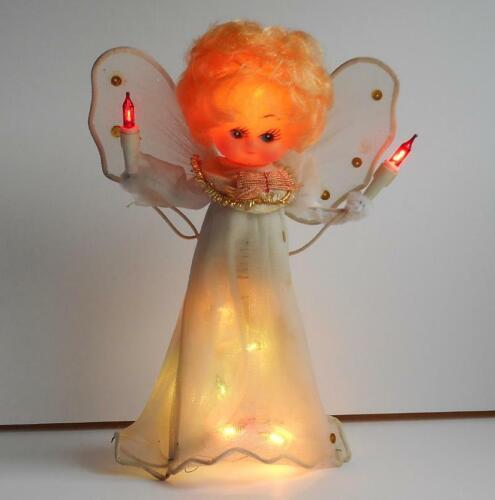 Vintage Blonde Hair Plastic Doll Head Angel Multi Lighted Christmas Tree Topper