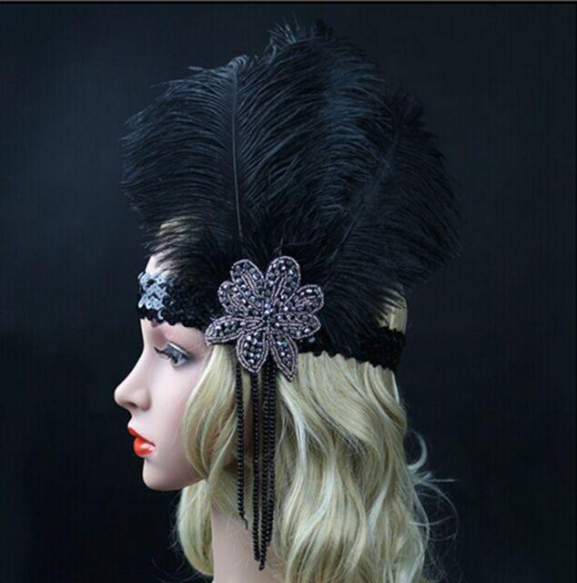 Black Ostrich Feather Headband Flapper 1920s Great Gatsby Headpiece Headdress