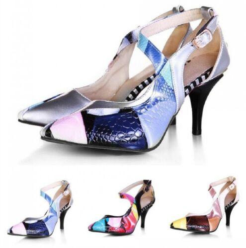Fashion Womens Pointy Toe Floral Kitten Heel Roman Buckle Sandals Shoes Plus Sz