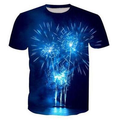 New Women Men Casual 3D T-Shirt Glitter Fireworks Print Short Sleeve Tops Tee ()
