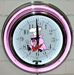Pink Pig BBQ Neon Clock New Quartz Wall Clock BBQ Lifestyle Lighting