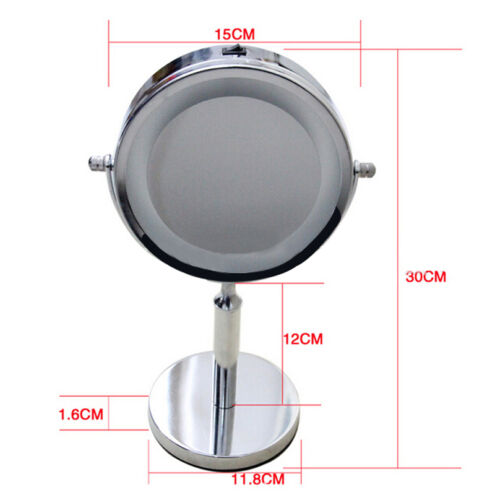 Round Free Standing LED Light Magnifying Make Up Vanity Dressing Table Mirror