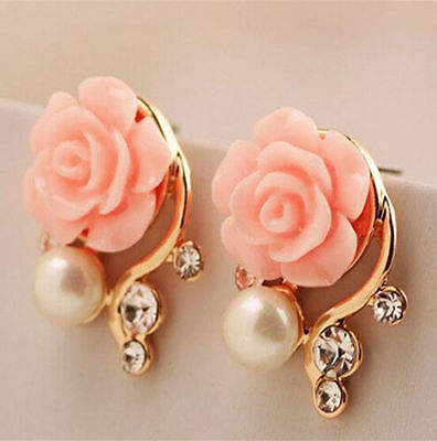 1 Pair Women Girl Gold Plated Rose Flower Pearl Ear Stud Earrings Jewelry Gift