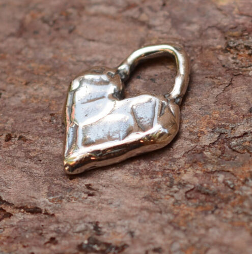 Sterling Silver Heart Charm, Rustic Artisan Heart Charm, H-522