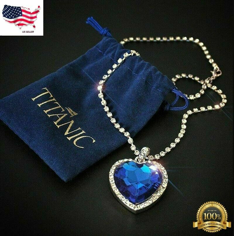Jewellery - NEW Titanic Heart of The Ocean Sapphire Blue Crystal Necklace Pendant MEMORY Gif