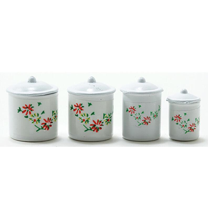 Dollhouse Miniature White Enamel 4 Piece Kitchen Canister Set