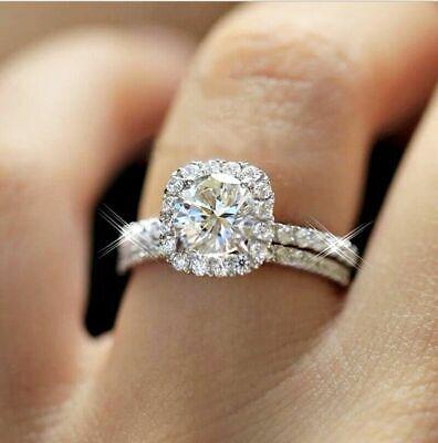 - 10K Real White Gold Ladies Engagement Wedding Band Ring Bridal Set Round Diamond