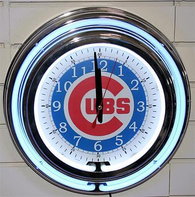 """CHICAGO CUBS-2ND Hand Sweeps-13""""  DOUBLE BLUE AND WHITE NEON CLOCK  WITH CORD"""
