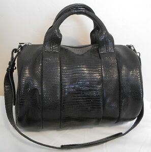 New-Alexander-Wang-S13-Black-Croc-Embossed-Silver-HW-Studded-Rocco-Duffel-TPF
