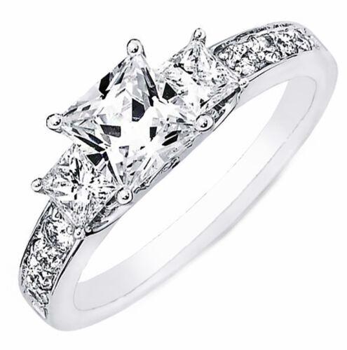 2 carat GIA Certified Princess Cut Natural and Real Diamond Engagement Ring 1...