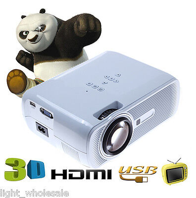 3000 Lumens 3LED LCD Projector Home Theater USB TV 3D HD 1080P Business VGA/HDMI