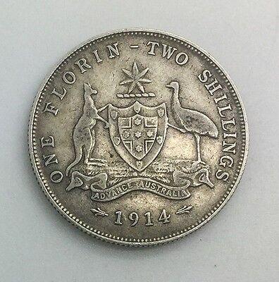 AUSTRALIA FLORIN GEORGE V 1914  DECENT COLLECTORS COIN