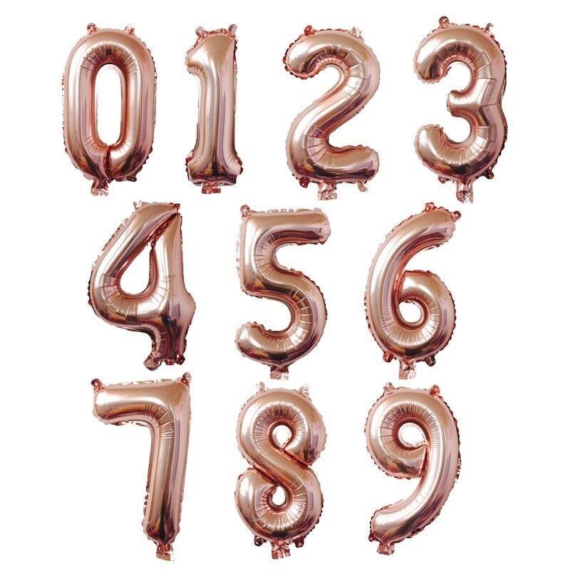 """как выглядит Воздушный шар для праздника или вечеринки 16"""" Rose Gold Letter Number Foil Balloon Wedding Celebration Party Decor US Ship фото"""