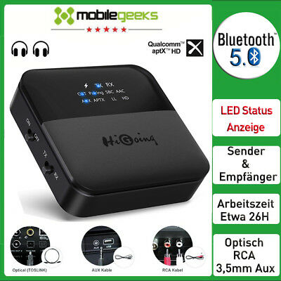 Bluetooth 5.0 Adapter Sender Empfänger Transmitter Audio Stereo Aptx-HD Optisch