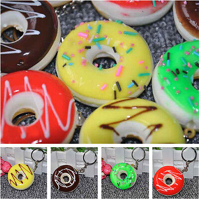 1X Attractive Donuts Cake Keyring Colorful Keychain Key Chain Keyfob Cute Gift A