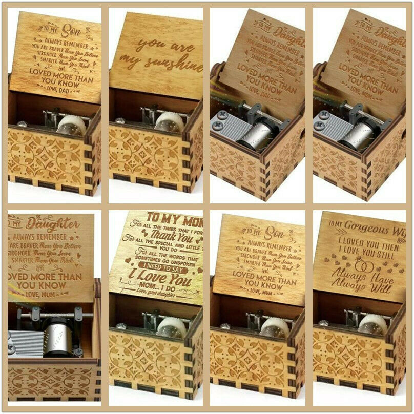 You Are My Sunshine-Wooden Engraved Music Box Gift for Mom/D