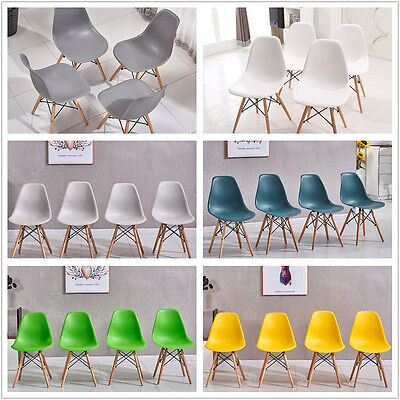 Home 4X Retro Dsw Dining Chairs  Lounge Chairs Wooden Legs Diningroom Office