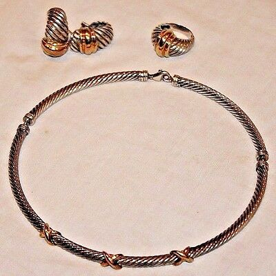 David Yurman 14K Gold & Sterling Silver Cable Necklace, Earrings & Ring Set