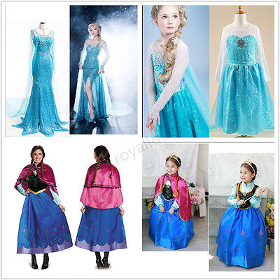 Women Frozen Dress Elsa Anna Princess Girls Halloween Party fancy Costume (Frozen Elsa Woman Costume)