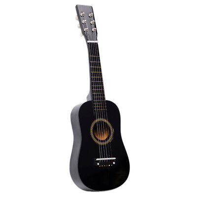 "23"" Acoustic Guitar Wooden Beginner Pratical Black Small Guitarra For Kids USA"