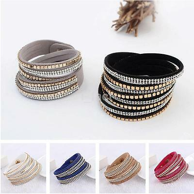 Chic Multilayer Women Crystal Leather Bracelet Cuff Bangle Jewelry Party Gift CA