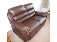 BROWN FAUX LEATHER TWO SEATER COUCH
