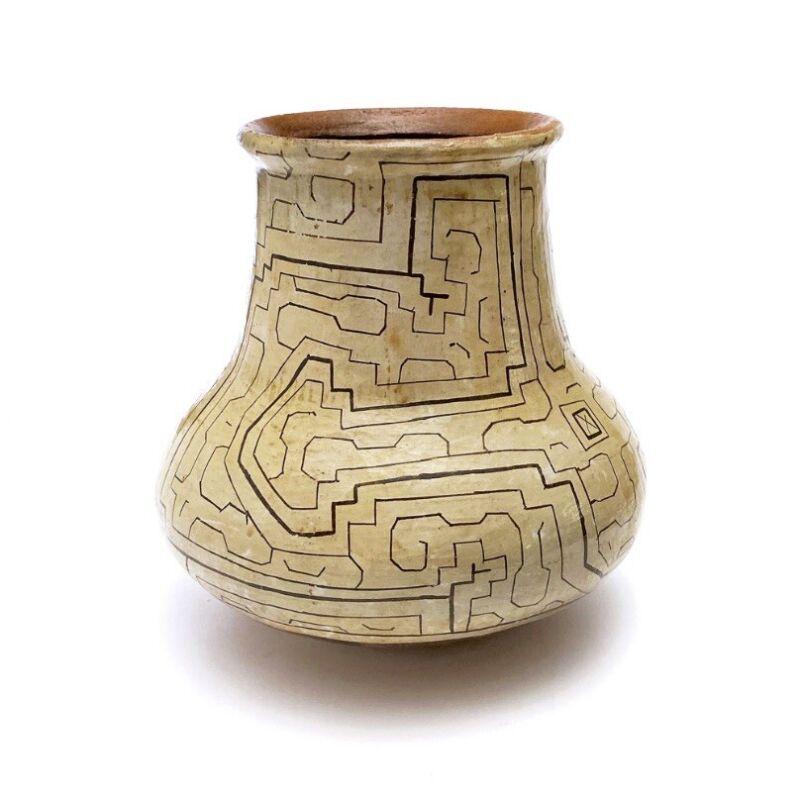 Vintage Peruvian Shipibo Conibo Geometric Labyrinth Vessel Amazonian Pottery