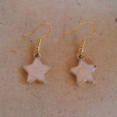 Ohrringe Sterne gold, rosè mit Glitzer *Neu* , Ohrhaken vergoldet, Sternchen