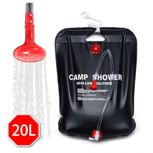 New 5 Gallon Portable Shower Solar Heated 20 L Bag Outdoor Travel Camping 20L