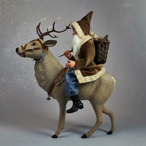 Paper mache*German Reindeer with riding Santa(tanned)*by Paul Turner HNY21-026