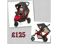 EXDISPLAY HAUCK FREERIDER TANDEM INLINE DOUBLE PRAM PUSHCHAIR BUGGY RED BLACK FROM BIRTH ONLY £125