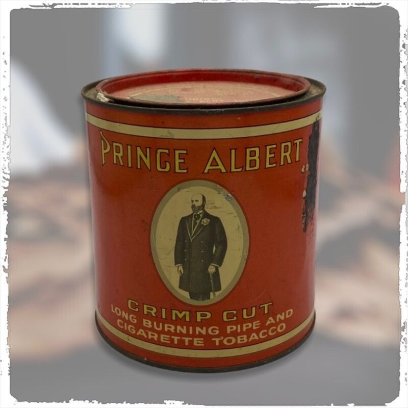 Vintage PRINCE ALBERT CRIMP CUT TOBACCO Tin and Old Pipe
