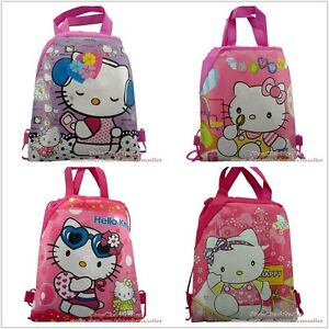 4pcs Hello Kitty Kid drawstring backpack bags school bag cartoon bag party gifts