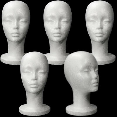 Mn-433 5 Pcs Female Styrofoam Mannequin Head With Long Neck
