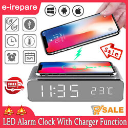 LED Alarm Clock With Wireless Charger Function For iPhone 11 Pro X XR XS Max HOT