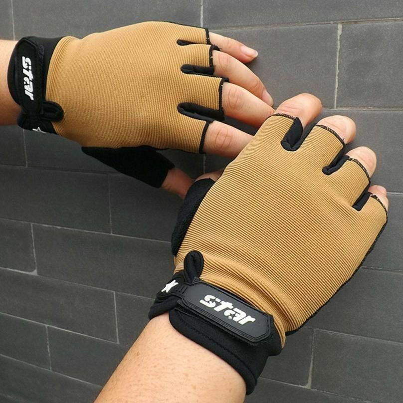 Unisex Antiskid Cycling Bike Gym Fitness Sport Fingerless Gloves Weight Lifting