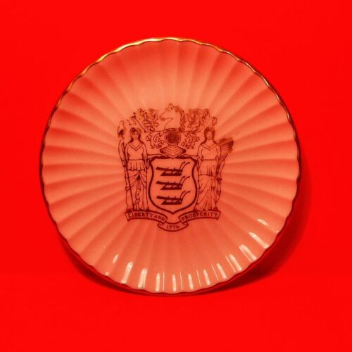 Vtg 1970 24K Gold Governor Cahill  Lenox New Jersey State  Plate Coaster Dish