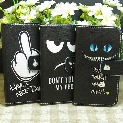 1x Don't Touch My Phone Have a nice day Wallet Kickstand flip case cover for HTC