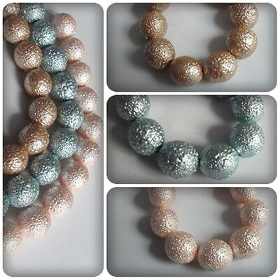 New Textured Oval Glass Beads - 15 x NEW Matte Effect Textured Glass Pearls - 12mm Ovals [Various Colours]