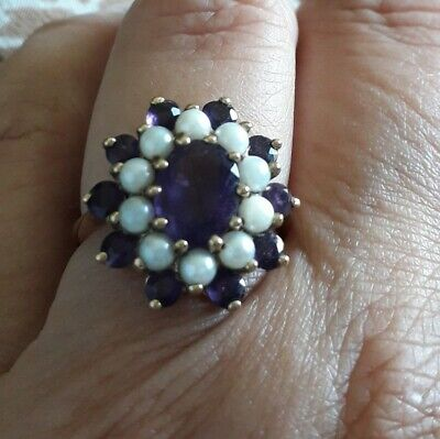 Vintage classic deep amethyst and seed pearl halo ring, 9ct Yellow Gold Size O