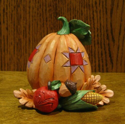 "Jim Shore Heartwood Creek Minis #6009475 PUMPKIN w/ BOUNTY, 4"" NIB Halloween"