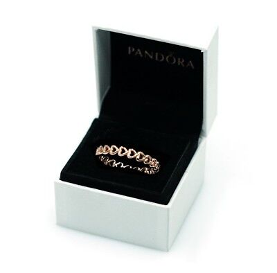 Hearts Stackable (NEW Authentic PANDORA Rose™ Gold Linked Love Hearts Stackable Ring)