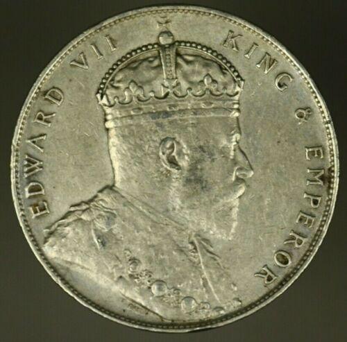 Straits Settlements Silver Dollar 1908  AU  skratches  A1508