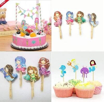 Mermaid Cupcake Toppers Mermaid Birthday Cake set Sea Horse Underwater themed - Horse Themed Cakes
