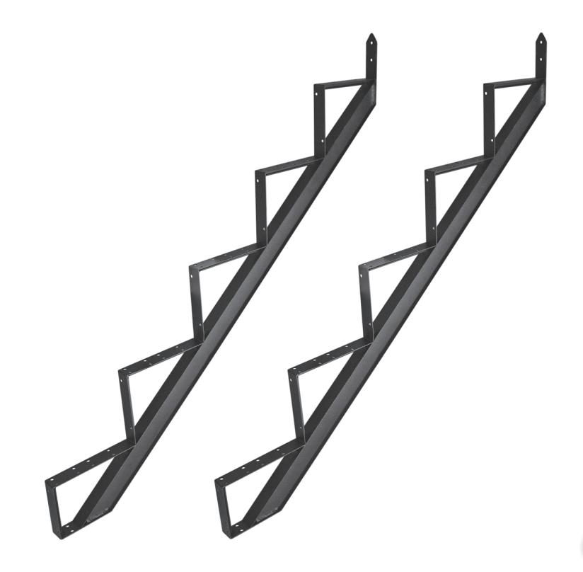 Gartentreppe Treppenrahmen Alu Schwarz 2-6 Trittstufen