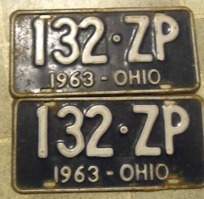 1963 OHIO~132 ZP~ ~LICENSE PLATES<>TAGS