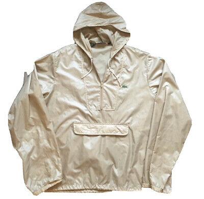 Lacoste Vintage Windbreaker/Raincoat/Hoody Jacket (Size XL Tan/Beige)